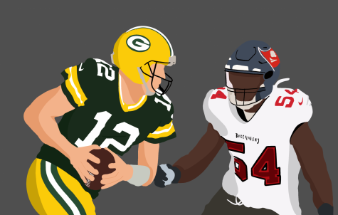 Illustration of Packers QB Aaron Rogers and Bucs linebacker Lavonte David.