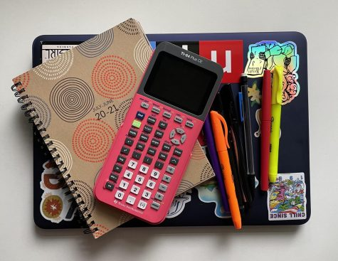 Despite working from home, eLearners still had to stock up on school supplies. Pictured here are pens, highlighters, pencils, a calculator, a planner and a laptop.