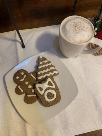 a plate of gingerbread cookies and a latte to keep you warm during the winter.