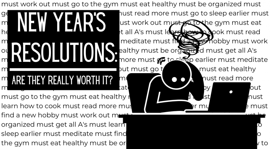 Graphic illustration expressing a person overwhelmed with their New Year's resolutions.