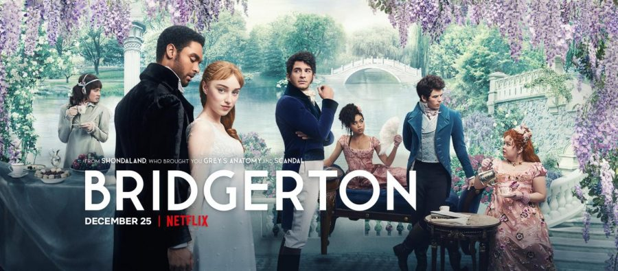 The promotional poster for Netflix  period drama created and executive produced by Chris Van Dusen and executive produced by Shonda Rhimes and Betsy Beers.
