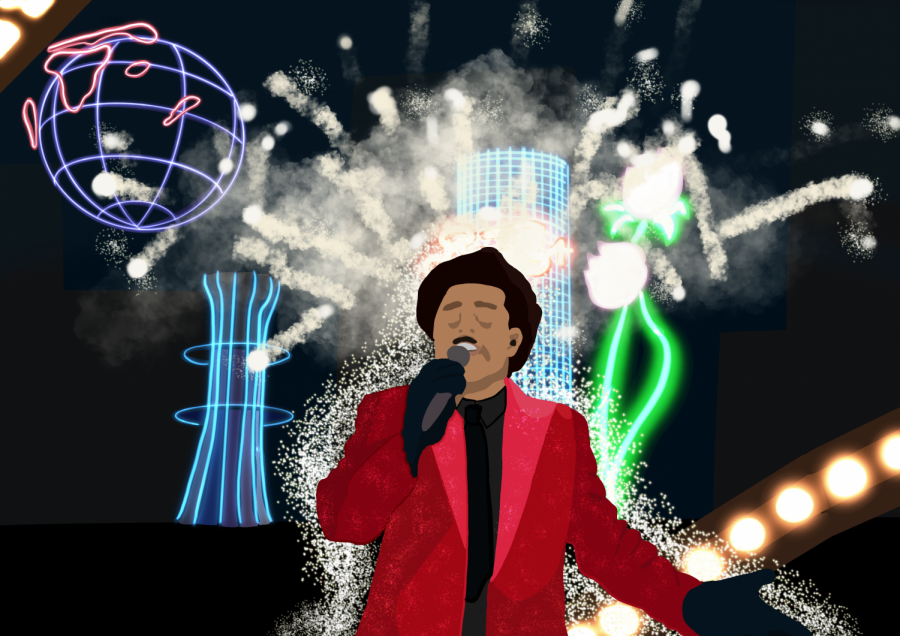 Illustration depicting the Weeknd performing at the Raymond James Stadium during the Halftime Show.