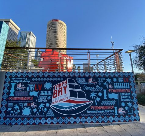 Downtown, Curtis Hixon Park is decorated for the Super Bowl. Decor stuck with classic Super Bowl themes while promoting the city.