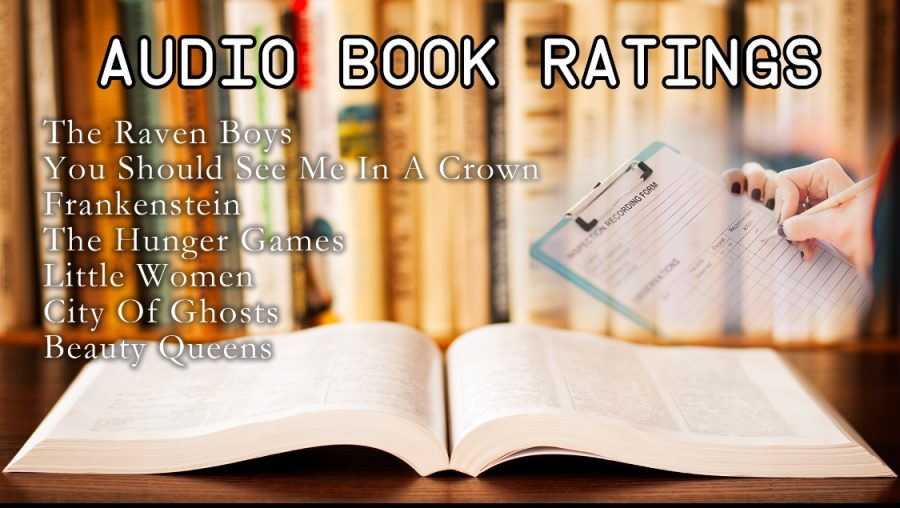 Graphic depicting a book and the rankings of the some of Spotify's popular audiobooks.