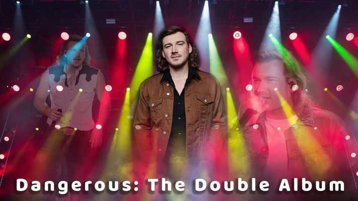 Graphic with Morgan Wallen, complete with a stage-like background and the title of his latest album.
