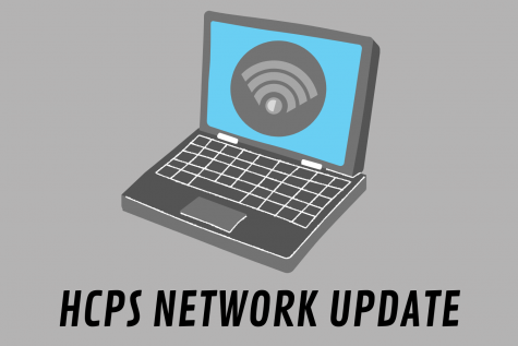 A graphic illustration depicting a computer and WiFi symbol, connected to HCPS with text underneath.