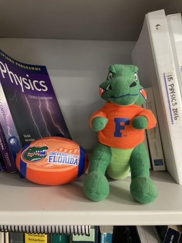 University of Florida merch in alumni teacher Manuel Montero