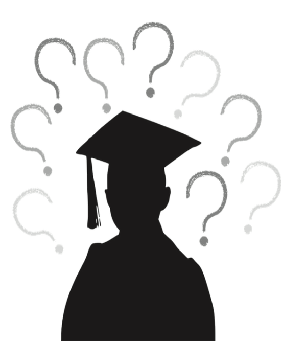 Graphic of a recent graduate confused on where to go.