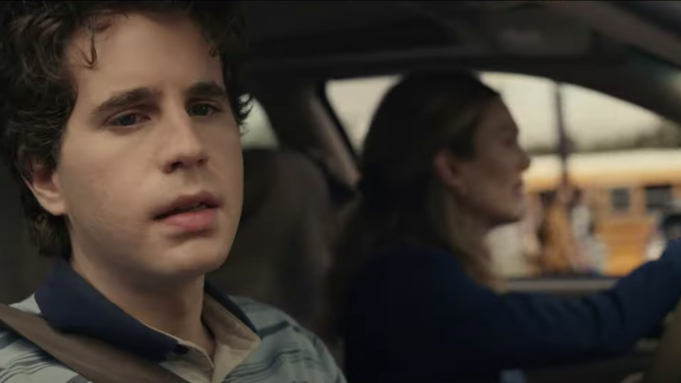 Universal Studios released still images of the Dear Evan Hansen movie when the trailer dropped. Ben Platt, as 17-year-old Evan Hansen, sits in a car with Julianne Moore, who plays Evans mother Heidi.
