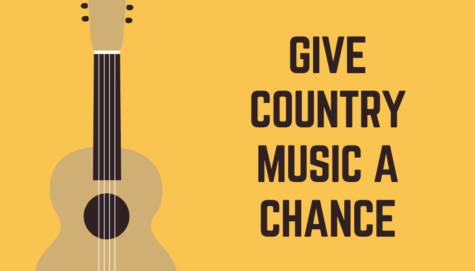 Graphic depicting a guitar, one of the primary instruments used in country music.