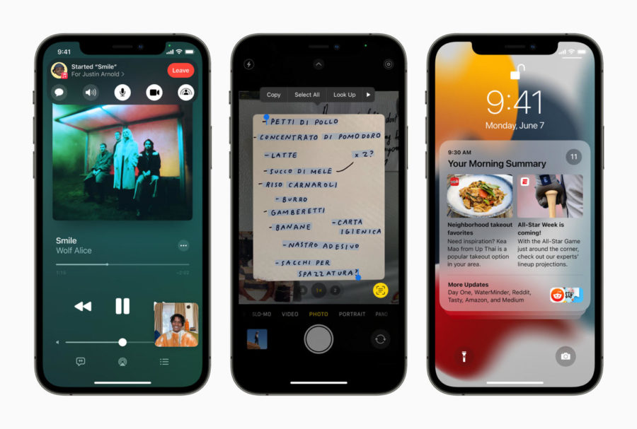 This image is from the Apple press relase of iOS15. From the release, iOS 15 introduces SharePlay in FaceTime, Live Text using on-device intelligence, redesigned Notifications, and more.