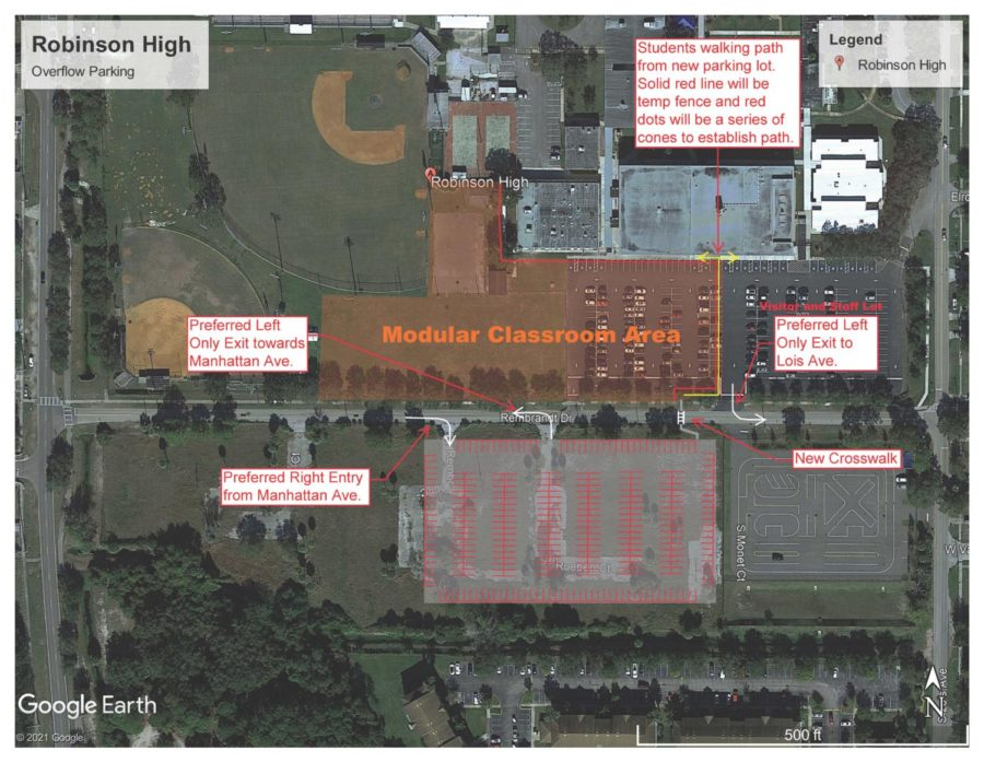 A map depicting the new parking and pick-up line procedures for 2021-2022.